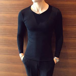 2件】打底衫男士长袖V领t恤韩版修身纯棉紧身体恤秋服装冬衣黑色