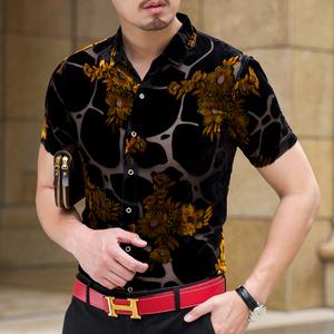 高档桑蚕丝<span class=H>男装</span>短袖衬衫中年时尚个性潮款真丝镂空花衬衣修身免烫