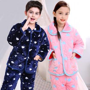 儿童夹棉睡衣三层加厚法兰绒套装小孩子女童男童保暖珊瑚绒家居服