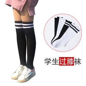 女童长筒袜子儿童过膝高筒非纯棉学生韩国堆堆袜中筒袜长袜黑白色