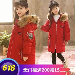 韩国代购女童棉衣2018新款童装加厚外套大童羽绒棉服中长款棉袄