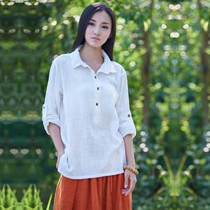 2018春夏季新款棉麻女装宽松休闲短款森女外套上衣纯色长袖衬衫