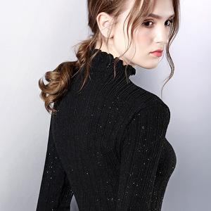 欧洲站新款春装木耳边内搭打底衫女装洋气小衫欧货半高领性感上衣