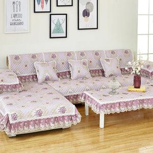 四季亚麻沙发垫9件套装欧式蕾丝布艺时尚防滑沙发<span class=H>坐垫子</span>九件套