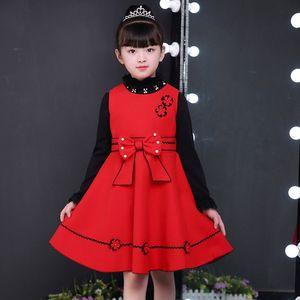 童装2018新款冬女童<span class=H>连衣裙</span>儿童背心毛呢裙中大童公主呢子新年红裙