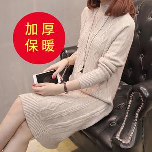 冬季针织衫中长款加厚毛衣女宽松包臀打底衫