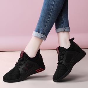 黑色运动鞋<span class=H>女鞋</span>子跑步鞋2018新款网面透气轻便2019春季百搭休闲鞋