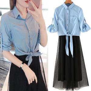 2019新款女装春装两件套连衣裙大码洋气套装时尚显瘦流行吊带裙子