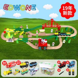 小米 <span class=H>托马斯</span>轨道积木火车电动汽车儿童<span class=H>玩具</span>男女孩环保木质积木3-7