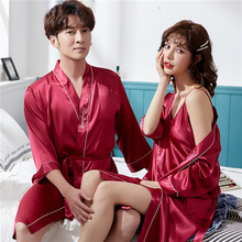 Spring and Autumn couples'pajamas, nightgowns, ice silk two-piece summer thin Korean version of couples' pajamas, bathrobes, men's and women's household clothes