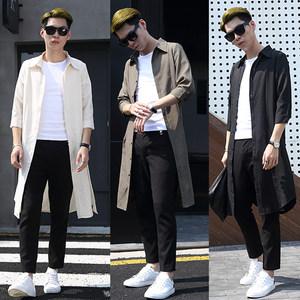 春秋季男士薄款潮流上衣韩版长袖中长款<span class=H>衬衫</span>外套发型师七分袖衬衣