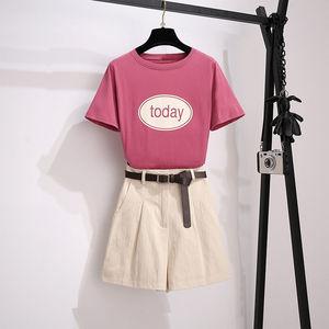 大码套装女2020年夏季新款时尚洋气减龄胖妹妹显瘦短裤两件套