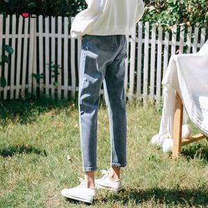 高腰直筒<span class=H>牛仔裤</span>女蓝色2019春款春季韩版学生裤子chic宽松九分裤