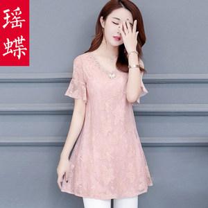 雪纺衫女短袖中长款蕾丝2019夏装新款很仙的上衣洋气显瘦台湾网纱