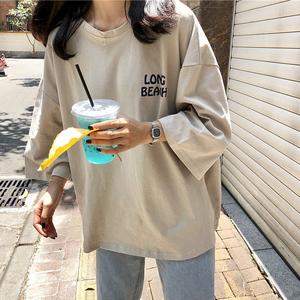 半截袖短袖女学生韩版潮宽松百搭夏装中袖T恤韩国ulzzang原宿风bf