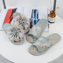 European style four seasons lace fabric slippers, silent indoor female fashion home beauty salon, soft floor shoes.