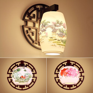 新中式实木陶瓷壁灯客厅书房卧室床头古典灯过道楼梯装饰灯