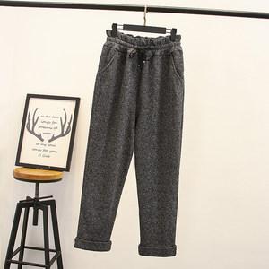 200斤胖MM大码女装冬季新款加大码<span class=H>加绒</span>加厚松紧腰针织休闲长裤