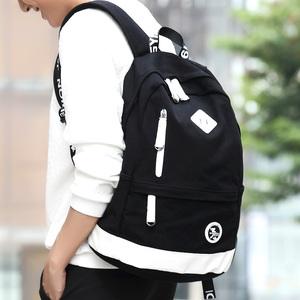 韩版男士<span class=H>双肩包</span>时尚潮流帆布<span class=H>男包</span>初高中学生书包背包旅行包运动包
