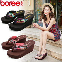 Baoren Slippers Female Summer Muffin Wear Sandals Female Thick-soled Beach Shoes Fashionable Sandals Slope-heeled Flip-flops