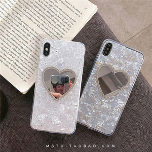 爱心镜子水钻贝壳纹xs max<span class=H>苹果</span>x手机壳xr软壳套iphone7/8plus套6s