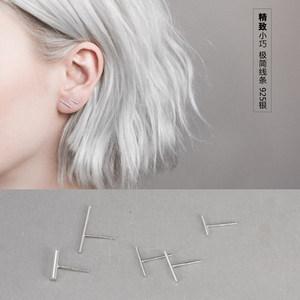 韩国简约气质女小<span class=H>耳钉</span>一字耳棒防过敏纯银极简简单迷你小巧耳环