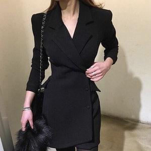 2018新款秋冬职业连衣裙女工装风衣外套中长款单排扣休闲西装上衣