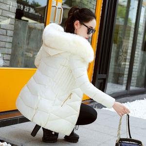 新款冬装<span class=H>羽绒</span><span class=H>棉服</span>女中长款修身大毛领棉衣<span class=H>韩版</span>棉袄大码加厚外套潮