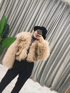韩版进口chic时髦羊羔毛滩羊毛皮草<span class=H>外套</span>女短款长袖2018秋冬新款