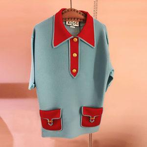 2019新品G家同款polo领拼色宽松针织<span class=H>衬衫</span>女 复古蓝五分袖百搭上衣