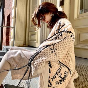ALUONLINESHOP 慵懒宽松V领针织开衫中长款女秋刺绣流苏毛衣外套