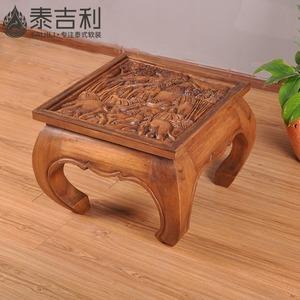 东南亚 纯实木雕花大象茶几 木质创意茶几茶台东南亚住宅<span class=H>家具</span>