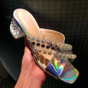 透明鞋女网红<span class=H>拖鞋</span>女外穿中跟夏时尚亮片<span class=H>水晶</span>粗跟方头露趾珍珠凉拖