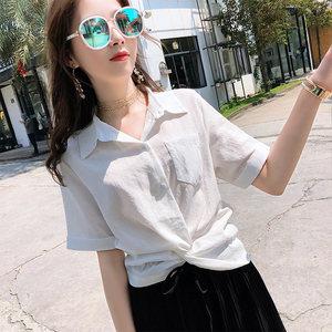 夏装女2019新款短袖<span class=H>衬衫</span>女设计感小众上衣外穿收腰短款小衬衣春秋