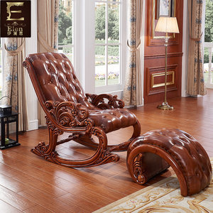 欧式摇椅实木雕花奢华型<span class=H>休闲椅</span> 皮质躺椅逍遥椅午睡椅橡木家具Z3