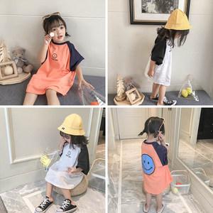 女童<span class=H>t恤</span>女2019新款韩版中小童洋气纯棉短袖体恤儿童中长款上衣潮