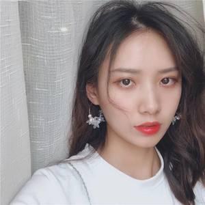 韩国个性森系水晶花朵耳环女 梦幻白亚克力气质百搭大耳圈百搭