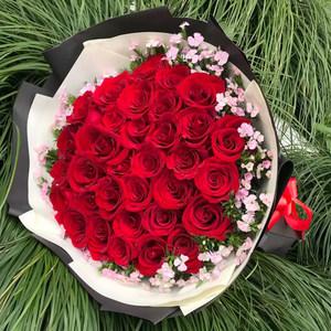 33朵红香槟玫瑰<span class=H>鲜花</span>礼盒花束生日上海南北京成都重庆全国同城速递