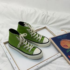 芥末绿色高帮<span class=H>帆布鞋</span>女小众学生韩版2019夏季小脏橘布鞋超火潮鞋子