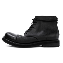 GAOSTUDIOS High-Up Men's Shoes JULIUS Buffalo Tie Boots Soft Leather Shoes Designer Brand Dark Chelsea