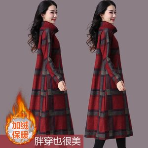 新款高领毛呢<span class=H>长裙</span>女秋冬大码女装休闲宽松印花加厚打底格子连衣裙