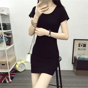 新款短袖t恤女<span class=H>衣服</span>韩版纯棉修身上衣2018夏装中长款黑色打底衫潮