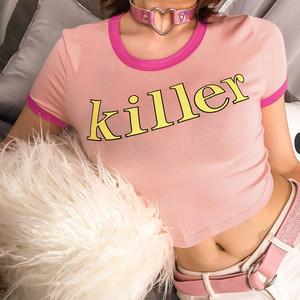 H家2019夏季性感小可爱粉色字母紧身<span class=H>上衣</span>女短款T恤露脐舞蹈打底衫