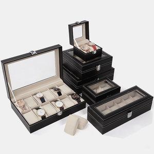 首饰盒<span class=H>手表</span>收纳盒子玻璃带锁整理饰品<span class=H>包装盒</span>手链展示PU皮质首饰箱