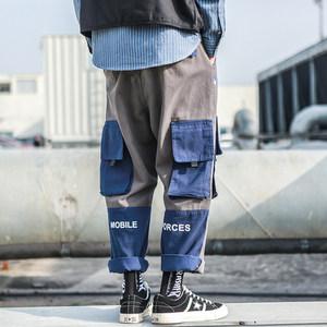 国潮拼接撞色工装裤男直筒宽松原宿bf风多口袋<span class=H>军裤</span>余文乐潮牌裤子