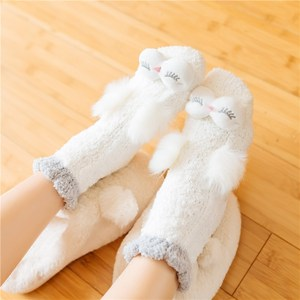 珊瑚绒<span class=H>袜子</span>女加厚加绒保暖中筒袜冬季可爱睡眠家居防滑硅胶地板袜