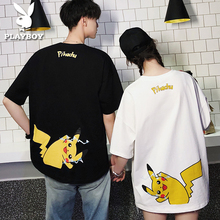 Playboy Pikachu T-shirt Chao Brand Small Popular Design Sense Special Couple Dresses Summer Dresses Ins Short Sleeves for Boys