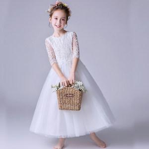 中袖儿童礼服白色中大童生日<span class=H>公主裙</span>长裙子女童钢琴小主持人表演服