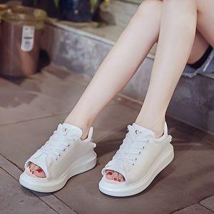 2017夏季新款厚底<span class=H>凉鞋</span>女松糕透气牛仔鞋休闲镂空帆布鞋学生鱼嘴鞋