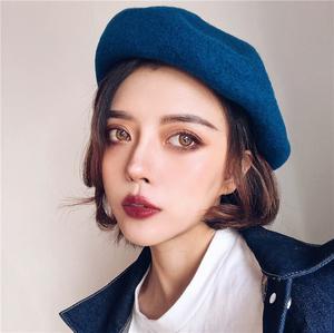 超显白孔雀蓝色纯羊毛自带廓形立体不软榻贝雷帽可调节气质画家帽